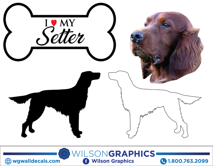 Setter - Dog Breed Decals (Set of 16) - Sizes in Description