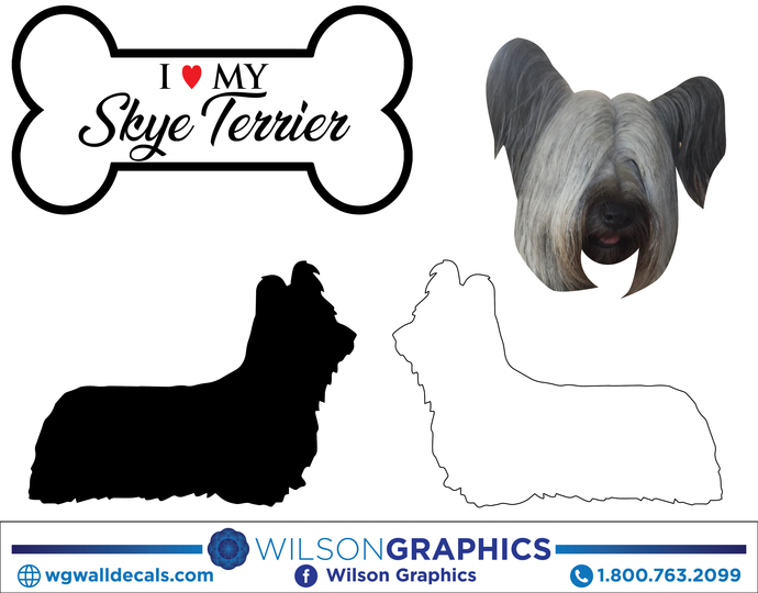 Skye Terrier - Dog Breed Decals (Set of 16) - Sizes in Description