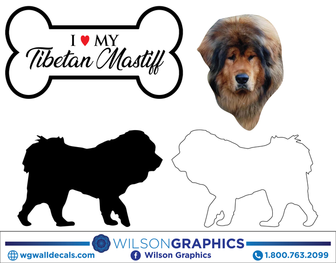 Tibetan Mastiff - Dog Breed Decals (Set of 16) - Sizes in Description