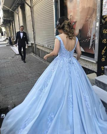Light Blue Tulle Ball Gowns Prom Dress Lace Appliques