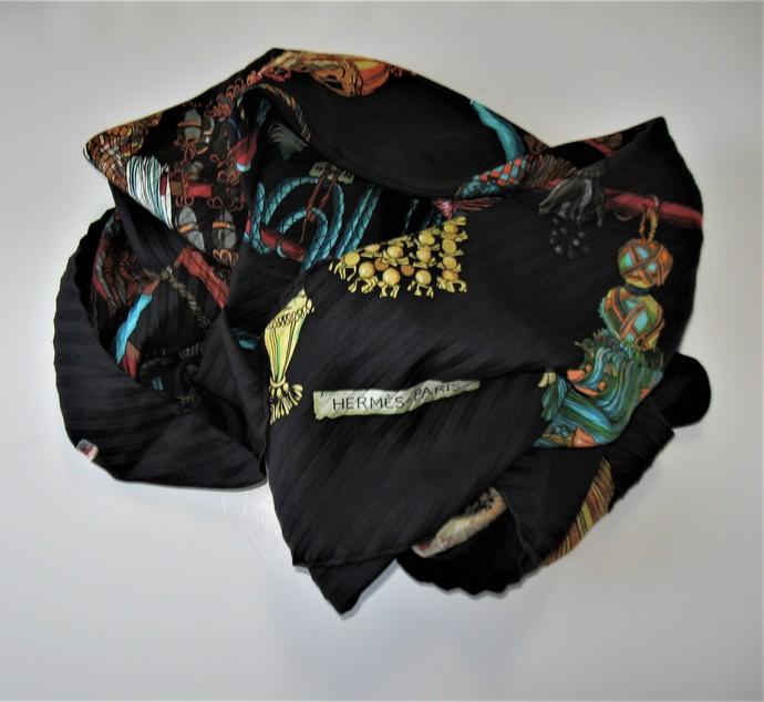 "Vintage Hermes Passementerie pleated Silk Scarf, 34"" x 34"", accordion pleats,"