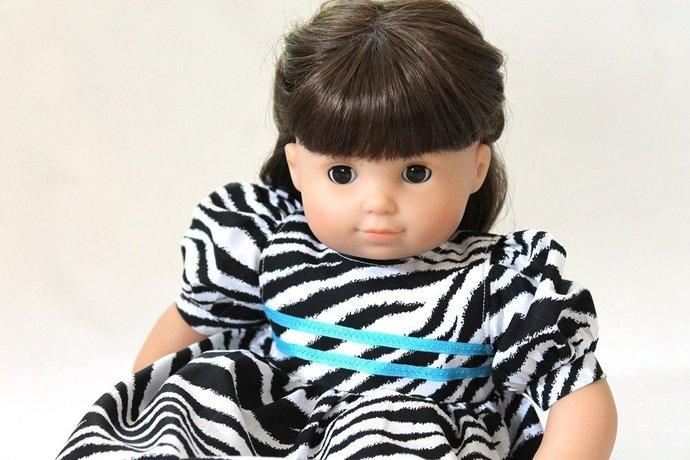 Doll Dress Zebra Striped Black White Turquoise Modern Birthday Party Summer