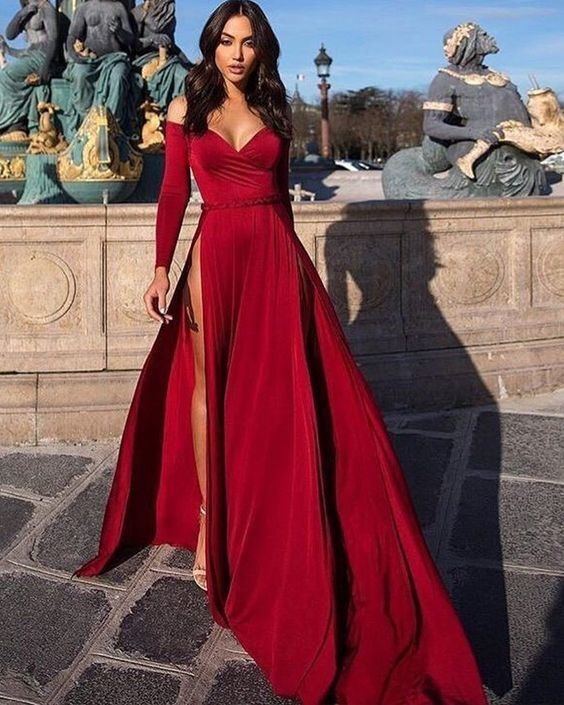 Off The Shoulder Satin Burgundy Long Sleeved Evening Dress With High Slit