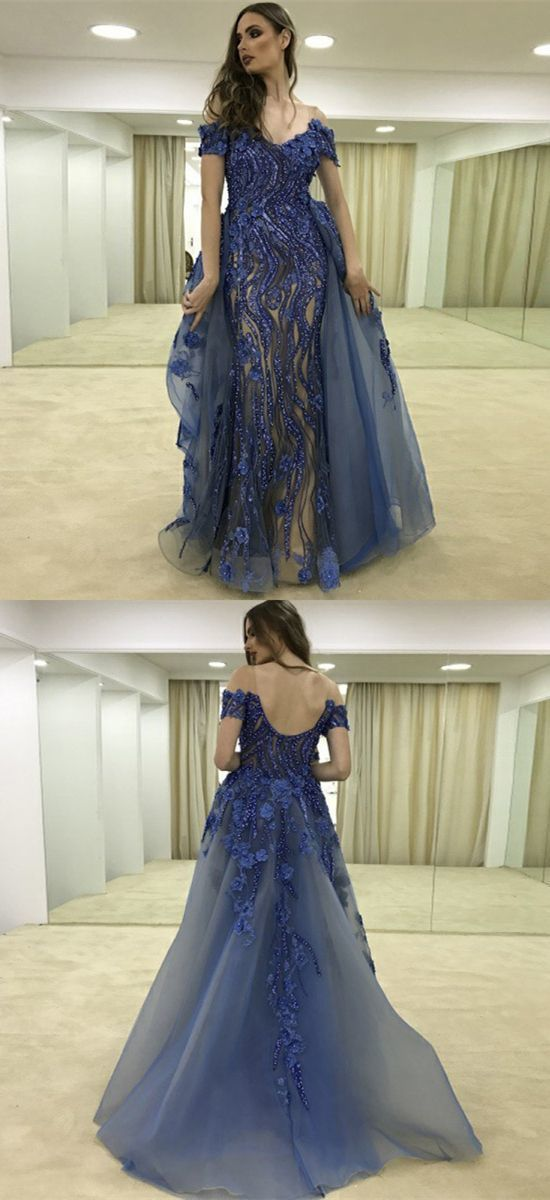 A-Line Off the Shoulder Sweep Train Dark Blue Tulle Prom Dress with Appliques