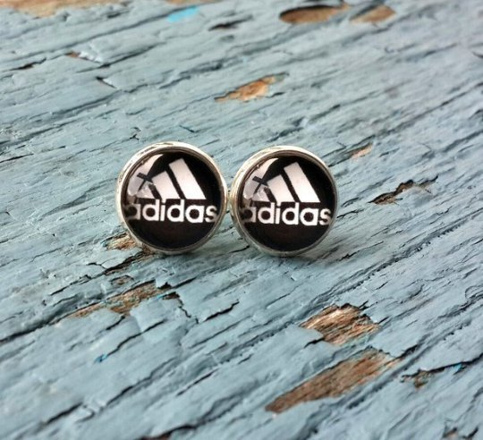 Adidas inspired stud earrings, sport accessories, Adidas lover gift, adidas