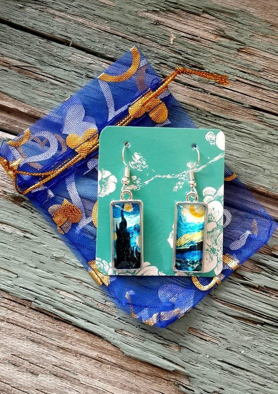 Starry Night earrings, Van Gogh earrings, art earrings, Van Gogh Starry Night