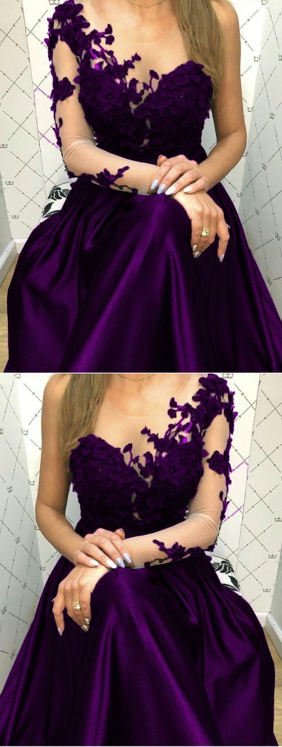 Elegant Purple Lace Long Sleeves Satin Prom Evening Dresses One Shoulder