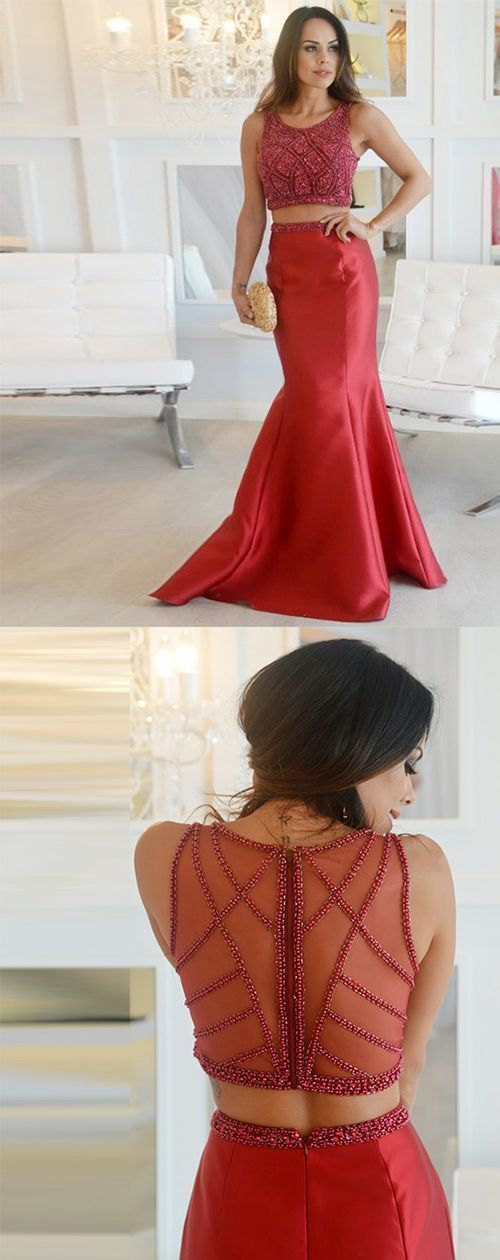 Two Piece Mermaid Round Neck Red Satin Prom Dress with Beading