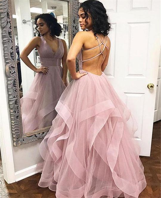 Custom Made Tulle Pink Long Prom Dress, Sexy Evening Gowns