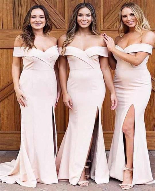 Sexy Off the Shoulder Split Slit Long Prom Dress Formal Bridesmaid Dress