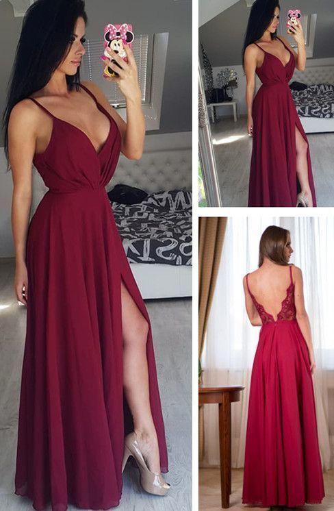 Elegant Spaghetti Straps V Neck Open Back Burgundy Long Chiffon Prom Dress