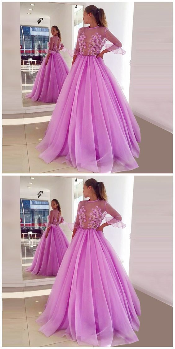 A-Line Jewel Half Sleeves Lilac Tulle Prom Dress With Appliques Prom Dresses