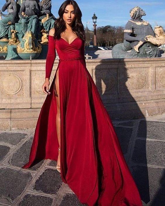 Off The Shoulder Satin Burgundy Long Sleeved Evening Dress With High Slit Prom