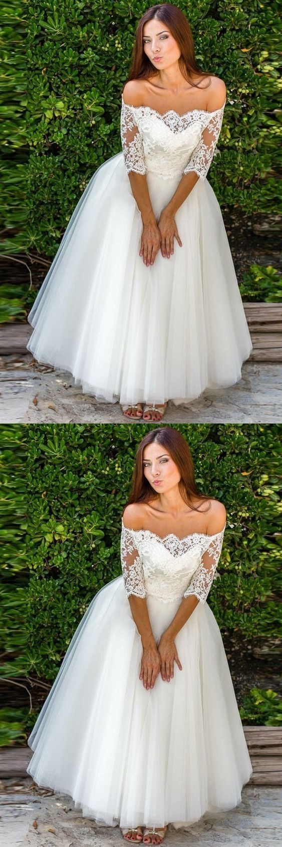 Elegant Half Sleeve Tulle Lace Wedding Dress Bridal Gown