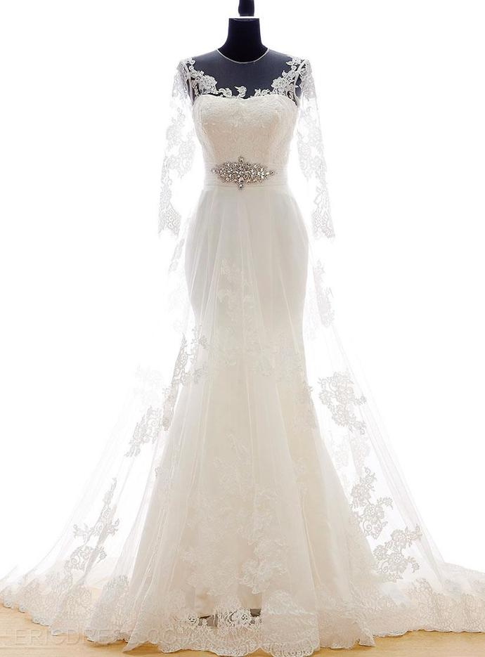 Mermaid Lace Tulle Court Train Wedding Dress with Sheer Sleeves and Illusion