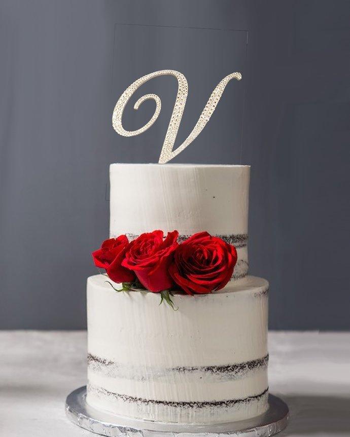 Swarovski Crystal Rhinestone Initial Cake Topper with removable stakes, Monogram