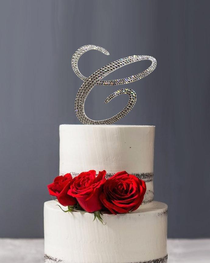 Swarovski Crystal covered Cake Topper for Wedding or Birthday cake,  Bling Cake