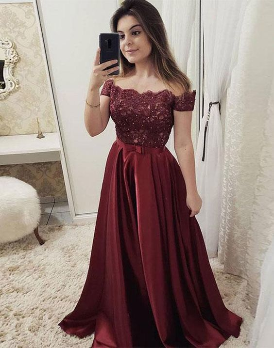 Burgundy off shoulder Lace Long Prom dress Burgundy Party Dress Evening dress