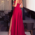 Sexy V Neck Red Party Dress with Slit Prom dresses Satin Evening dress Formal