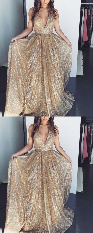 Sexy V-neck Long A-Line Prom Dresses Sequins Evening Formal Dress Cheap G2645