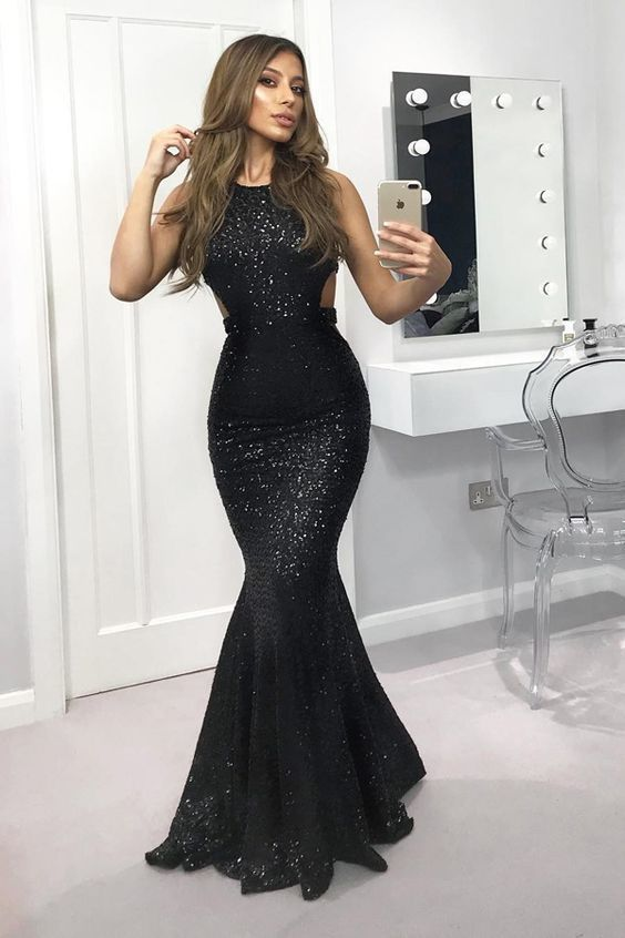 Mermaid Crew Open Back Floor-Length Black Sequined Prom Dress Evening Formal