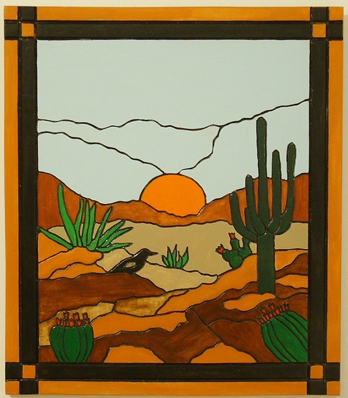 Southwest Saguaro Cactus Wood Wall Art, Hand Painted