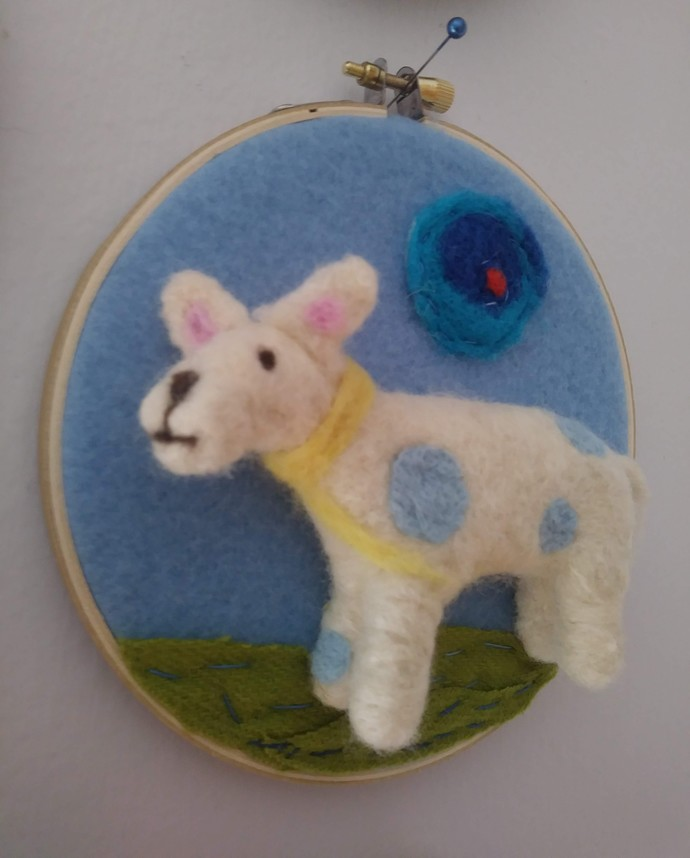 Blue Spotted 4 Legged Guy Embroidery Hoop 5""