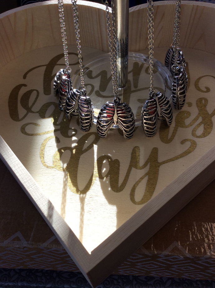 Ribcage CZECH glass heart  darkened silver finish Necklace  4 of 6