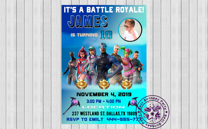 Fortnite birthday party invitations with photo, Fortnite birthday invitations,