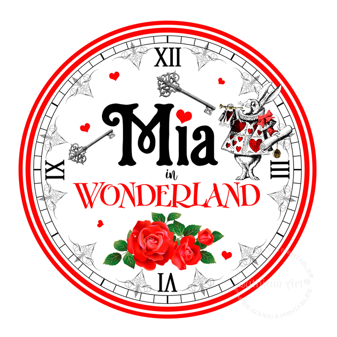 picture regarding Alice in Wonderland Printable referred to as Alice inside Wonderland Clock - Alice within Wonderland Printable Clock - Alice inside of Wonderland Decorations - Cute Desk Decoration - Massive Clock