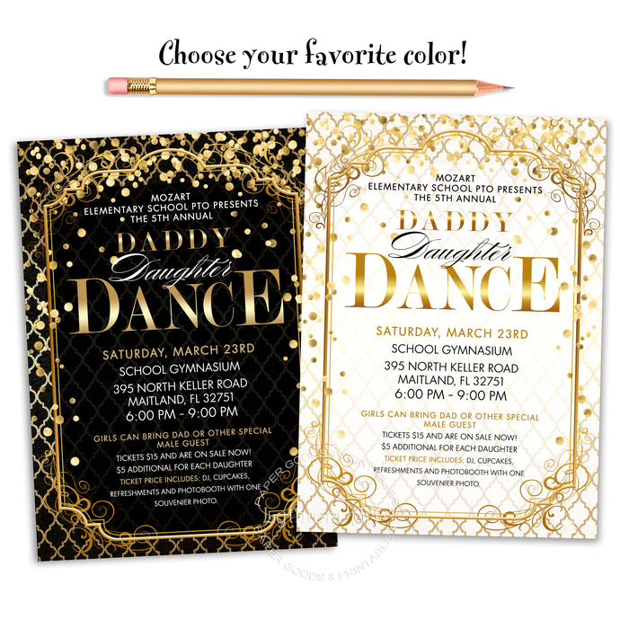 Daddy Daughter Dance Invitation, Printable File, Father and Daughter Dance Flyer