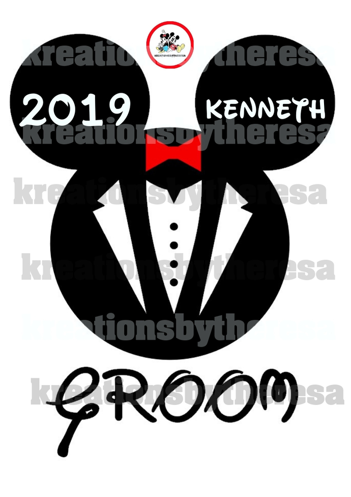 Disney Inspired Mickey Mouse Groom Head Iron On Transfer/Printable