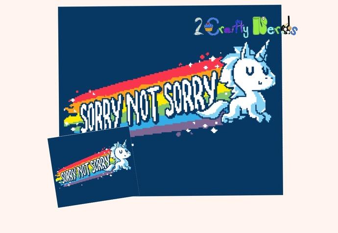 Sorry Not Sorry Unicorn Pattern Graph with SC Single Crochet Written