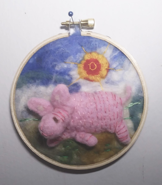 Felted Pig in small Embroidery Hoop 4""