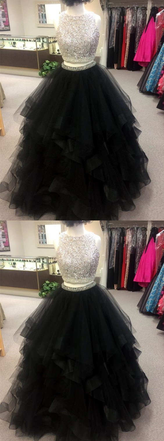 black prom dress,ball gowns prom dress,sequin beaded prom gowns,two piece prom