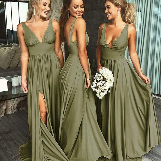 Summer V Neck Sexy Bridesmaid Dress Long Maid Of Rosyprom