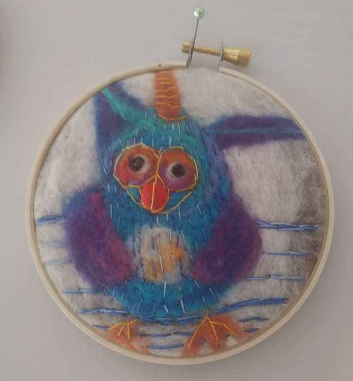 """Felted Owl in small Embroidery Hoop 4"""""""