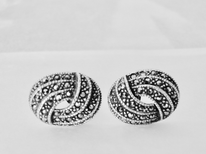 Marcasite Earrings, Vintage Stud Earrings, Sterling Silver Earrings, Marcasite