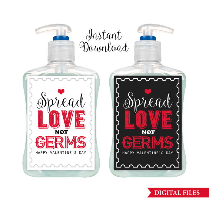 Valentine's Day Soap Label Gift, INSTANT DOWNLOAD, White and Chalboard Labels