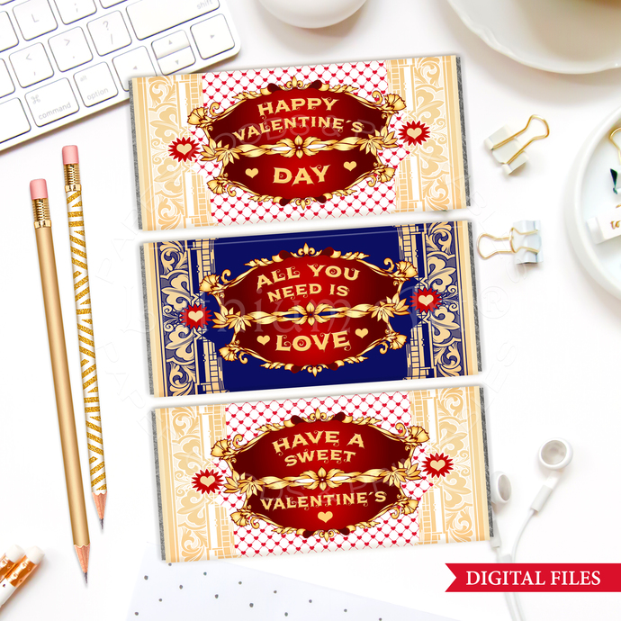 Valentine's Day Candy Bar Wrappers, INSTANT DOWNLOAD