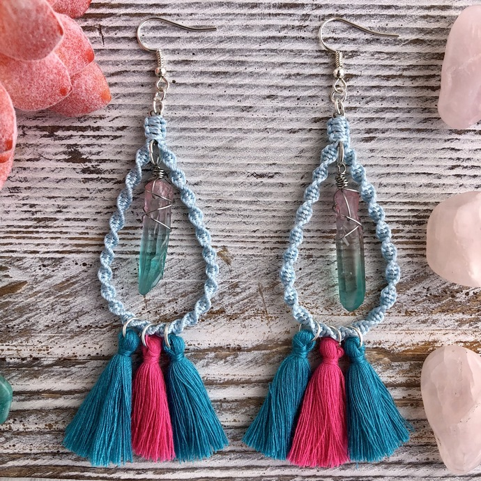 Blue macrame Teardrop Hoop Earrings with wire wrapped quartz crystal and pink