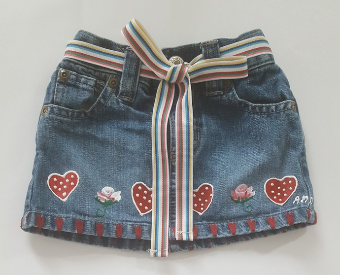 Baby's Denim Skirt, Hand Painted Red Hearts, Baby's First Denim Skirt, Upcycled
