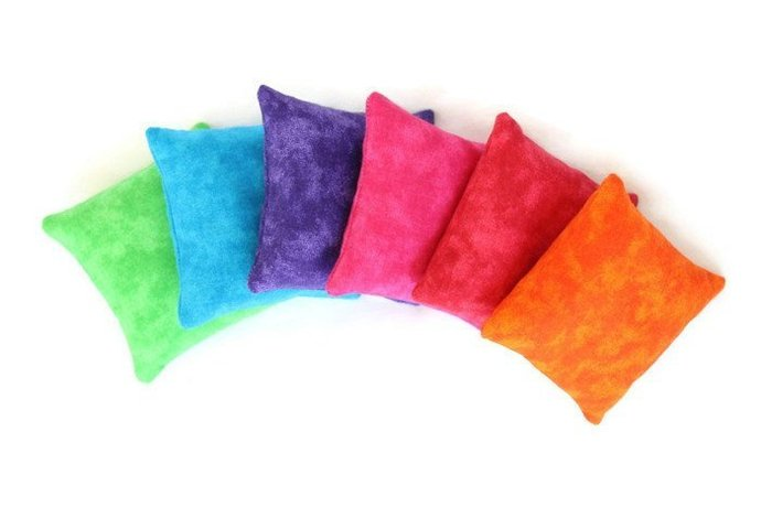 Rainbow Bean Bags in Green Blue Purple Pink Red Orange Bright Childs Toy
