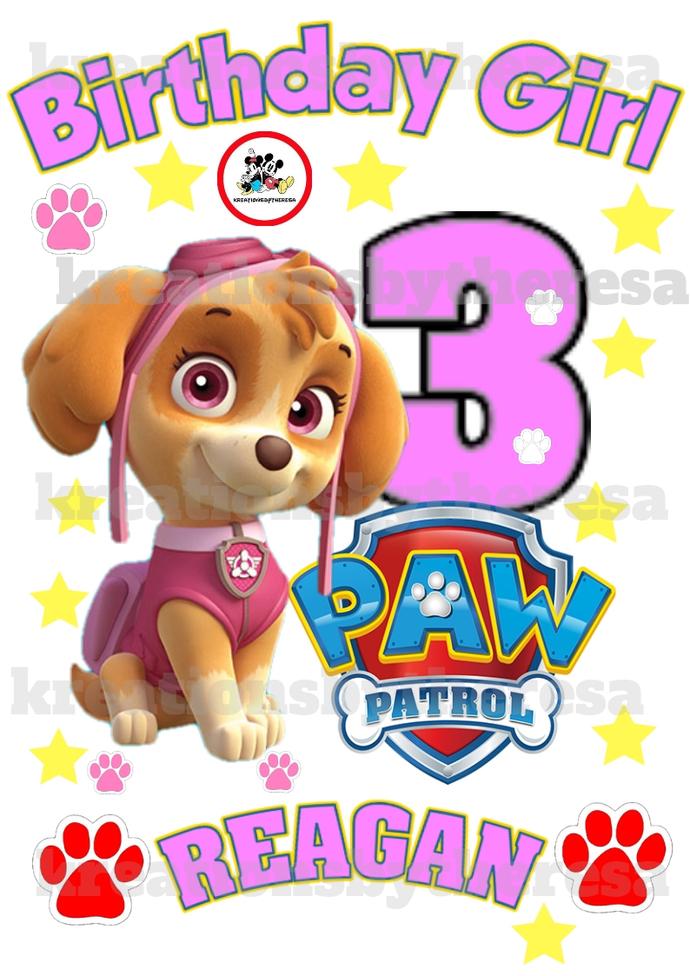 Paw Patrol Birthday Girl Iron On Transfer/Printable Transfer/Printable at