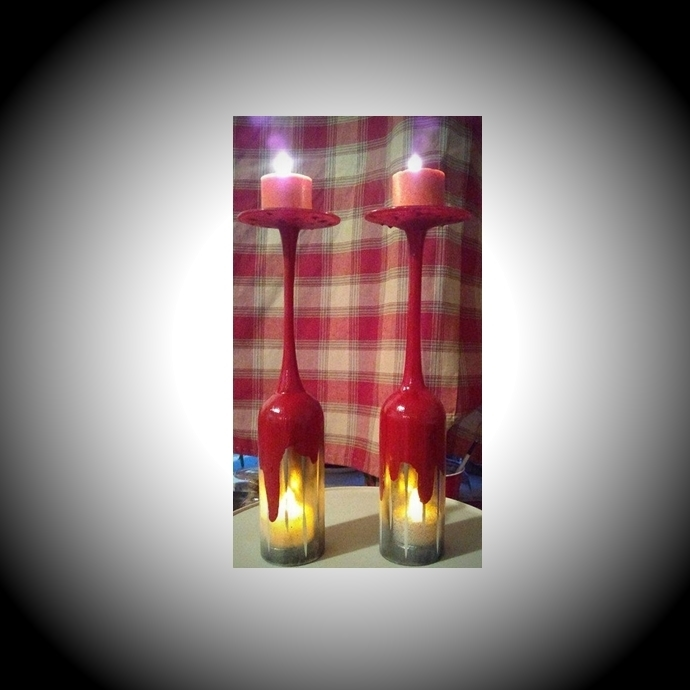 Blood Spill Goth/Gore Glass Candle Holders