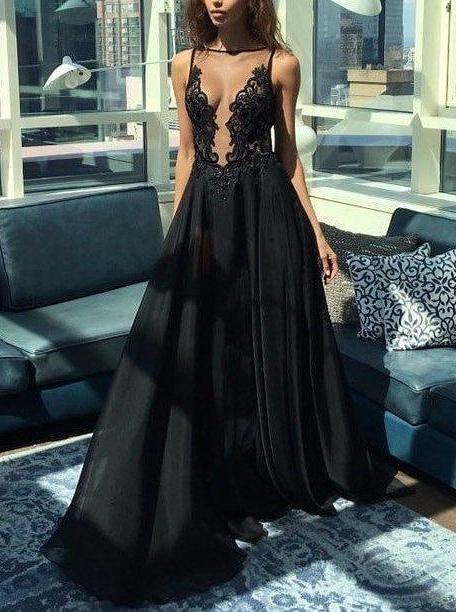 Sleeveless Black Deep V neck Long Prom Dress, Appliques Evening Gowns