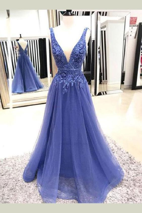 Charming Open Back Tulle Blue Beaded Long Prom Dress, Appliques Formal Evening