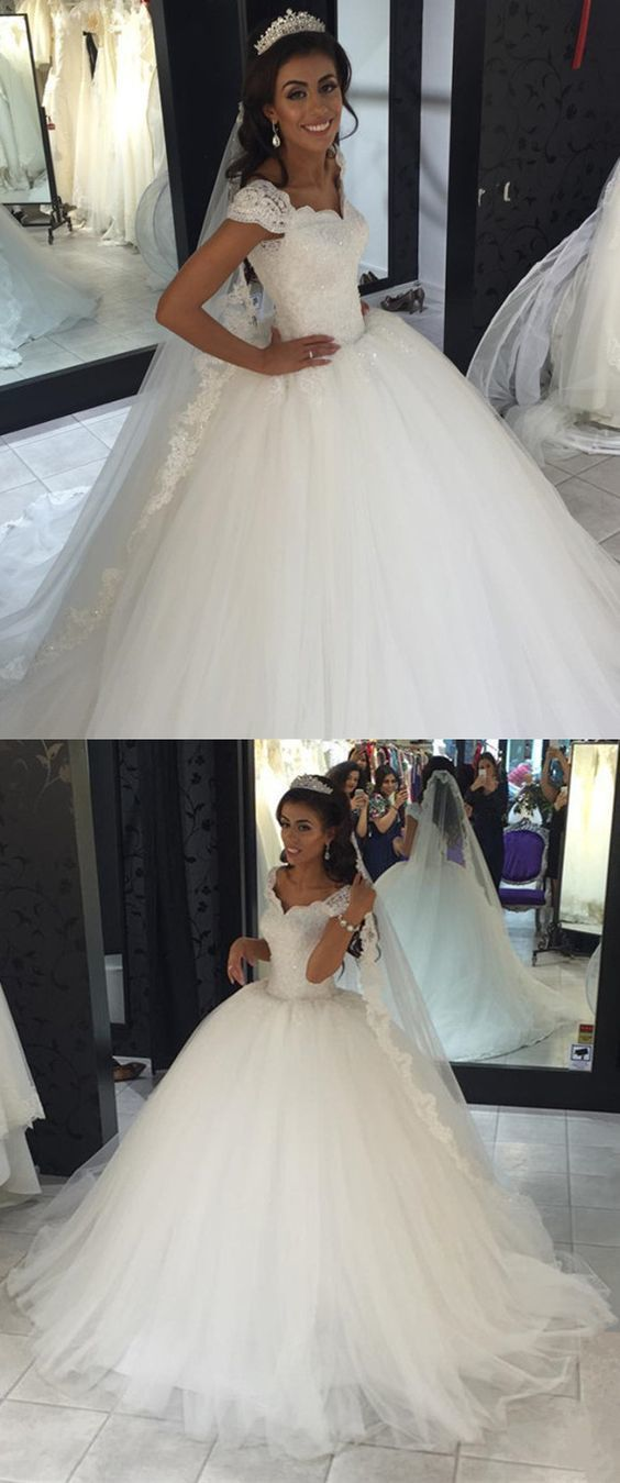 Charming Appliques Tulle Ball Gown Wedding Dresses, Cap Sleeve White Bridal