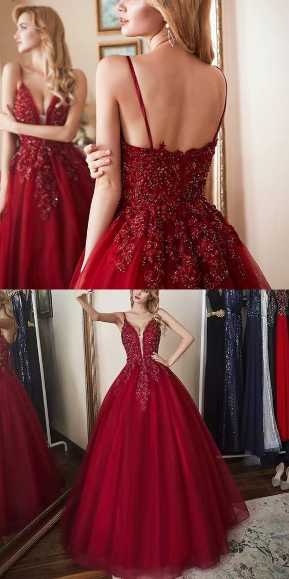 ff81443ce11 Custom Made Tulle Wine Red Ball Gown Prom by fancygirldress on Zibbet