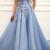 Charming Off Shoulder Blue Tulle Prom Dress with Handmade Flower, Long Evening